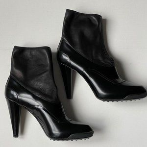 JP Tod's Leather Gomma Stitching Detail Booties